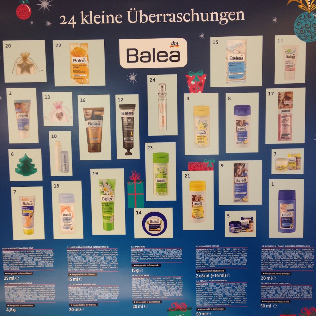 Balea Adventskalender 2015 Inhalt
